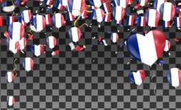 France flags and France balloons garland with confetti on white vector illustration