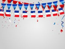 France flags Celebration background with confetti and red and blue ribbons. France flags Celebration background template with confetti and red and blue ribbons Royalty Free Stock Photography