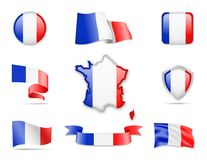 France Flags Collection. Flags and contour map. Vector illustration Royalty Free Stock Images
