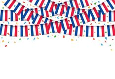 France flags garland white background with confetti. Hang bunting for Franch independence Day celebration template banner, Vector illustration Stock Photos