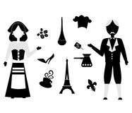 France flat design black Royalty Free Stock Photo