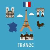France flat travel and landmark icons Royalty Free Stock Images