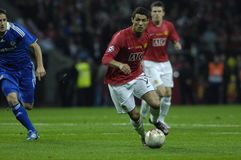 France Football 2009 Best 30 Players - Ronaldo. Cristiano Ronaldo during the Champions League Final 2007/08 in Moscow Manchester United - Chelsea royalty free stock photos