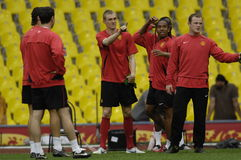France Football 2009 Best 30Players - Wayne Rooney. Wayne Rooney, Anderson, Carrick and Cristiano Ronaldo during the training session of Champions League Final royalty free stock photos