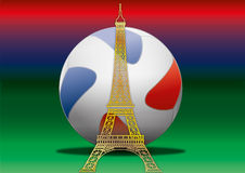 France, football ball and eiffel tower 2016 Stock Photo