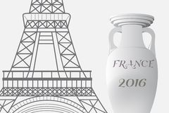 France football 2016. Championship Cup and the Eiffel Tower. Royalty Free Stock Photo