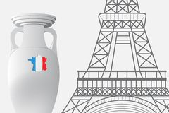 France football 2016. Championship Cup and the Eiffel Tower. Royalty Free Stock Images