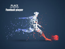 France football championship with player and flag colors., kick a ball, particle divergent composition, vector Royalty Free Stock Photo