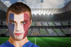 France football fan in face paint Royalty Free Stock Images