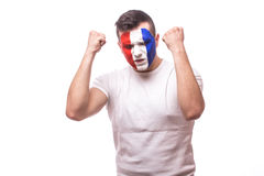 France football fan happy of  succes score of the match or happy moments of France national football team. Succes emotion, hands over body on white background Royalty Free Stock Photos