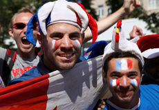France football fans in Kyiv fan zone Royalty Free Stock Photos