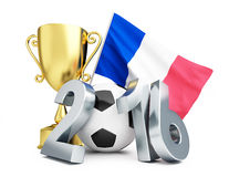 France football 2016, gold cup and flag of France. France football 2016, Gold Trophy Cup and flag of France. 3d Illustrations on a white background Royalty Free Stock Image