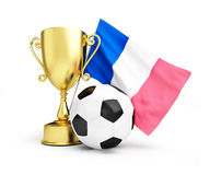 France football 2016, gold trophy cup and flag of france. 3d Illustrations on a white background Royalty Free Stock Photos