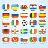 France 2016 football icons flags of the participating countries. Royalty Free Stock Photography