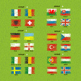 France 2016 football icons flags of the participating countries Stock Photos
