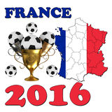 France 2016. Football poster with ball Vector Illustration