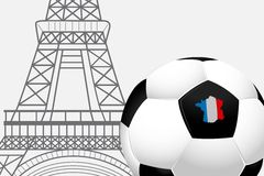France football 2016. Soccer ball with French flag colors and the Eiffel Tower. Stock Images