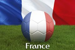 France football team ball on big stadium background. France Team competition concept. France flag on ball team tournament in Russi. A. Sport competition on green Royalty Free Stock Photo