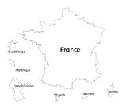 France and franch territory hand-drawn map. Isolated on white Stock Photography