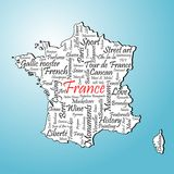 France. French symbol words map on blue background Royalty Free Stock Photos
