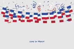 France garland flag with confetti on gray background, Hang bunting for French celebration template banner. Vector illustration Stock Photos