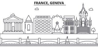 France, Geneva architecture line skyline illustration. Linear vector cityscape with famous landmarks, city sights Stock Photography