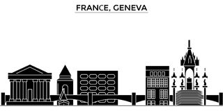 France, Geneva architecture vector city skyline, travel cityscape with landmarks, buildings, isolated sights on Royalty Free Stock Photo