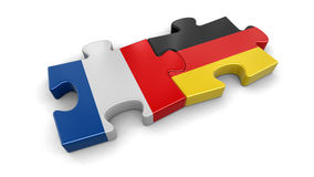 France and Germany puzzle from flags Royalty Free Stock Photo