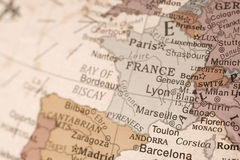 France on a globe. Detail shot of France on an English globe Stock Photography
