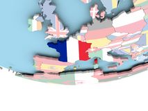 Map of France with flag on globe Stock Photos