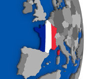 France on globe with flag Stock Images
