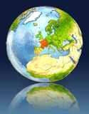 France on globe with reflection. Illustration with detailed planet surface. Elements of this image furnished by NASA Royalty Free Stock Photo