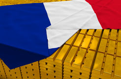France gold reserve stock. (creative concept): golden bars (ingots, bullions) are covered with french flag in the storage (treasury) as symbol of national gold Stock Photography