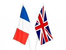 France and Great Britain flags. National fabric flags of France and Great Britain isolated on white background. 3d rendering illustration vector illustration