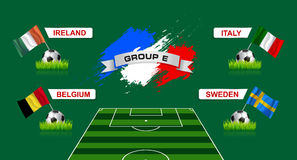 France Group E Soccer Championship with flags of european countr Stock Images