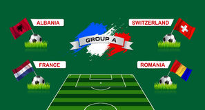 France Group A Soccer Championship with flags of european countr Stock Images