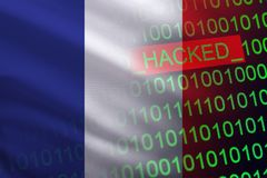 France hacked state security. Cyberattack on the financial and banking structure. Theft of secret information. On a background of a flag the binary code Royalty Free Stock Photography