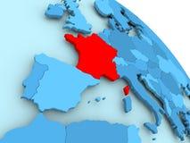 France on blue globe. France highlighted on blue 3D model of political globe. 3D illustration Royalty Free Stock Photo
