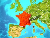 Map of France. France highlighted in red from Earth's orbit. 3D illustration. Elements of this image furnished by NASA Stock Photography