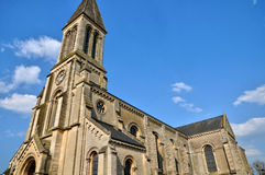 France, historical church of Port en Bessin Huppain in Normandie Stock Photo