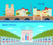 France Horizontal Banners Set Royalty Free Stock Photos