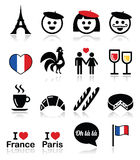 France, I love Paris vector icons set Royalty Free Stock Photo