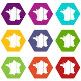 France icon set color hexahedron. France icon set many color hexahedron isolated on white vector illustration Royalty Free Stock Image