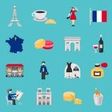 France Icons Flat Set Royalty Free Stock Images
