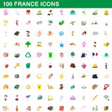 100 france icons set, cartoon style. 100 france icons set in cartoon style for any design vector illustration Royalty Free Stock Photography