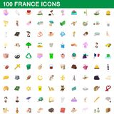 100 france icons set, cartoon style. 100 france icons set in cartoon style for any design illustration vector illustration