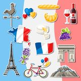 France icons set. French traditional sticker symbols and objects Royalty Free Stock Photo