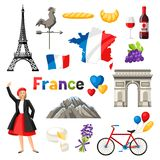 France icons set. French traditional symbols and objects Stock Images