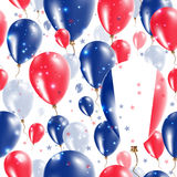 France Independence Day Seamless Pattern. Flying Rubber Balloons in Colors of the French Flag. Happy France Day Patriotic Card with Balloons, Stars and Stock Photo