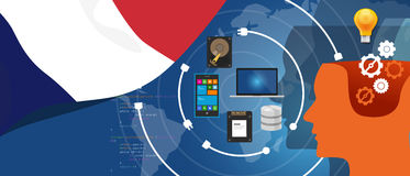 France IT information technology digital infrastructure connecting business data via internet network using computer. Software an electronic innovation vector stock illustration
